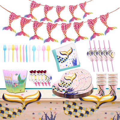Cross-border mermaid party decoration birthday fishes tail paper cup set
