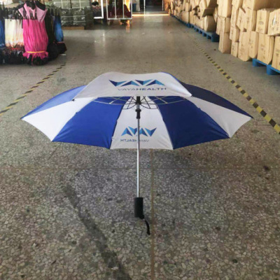 Umbrella manufacturer southeast Asia trade two fold Umbrella blue and white polyester cloth automatic opening advertising Umbrella custom logo
