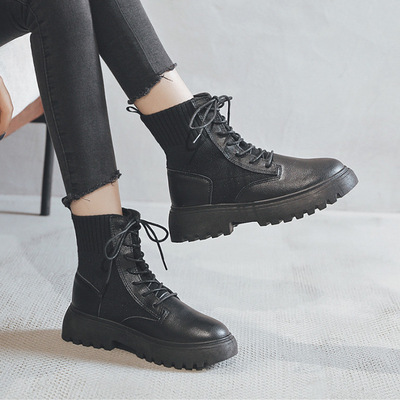Martin boots female 2019 boots new leaving female British winter wind and high pile for thick bottom female boots short boots