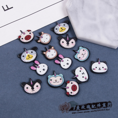Small animal fox rabbit bear resin flat patch diy phone headdress accessories