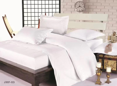 Foreign trade hotel series four-piece horizontal strip set three-piece bed sheet pillow cover