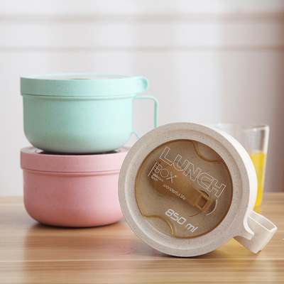 Eco-friendly wheat straw lunch box round microwave plastic bento box multi-functional Japanese student handle lunch box