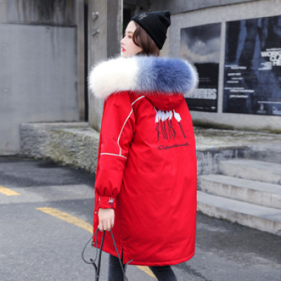 Real shooting Korea east gate 2019 new down jacket women's long hair collar embroidery school to overcome the thickene