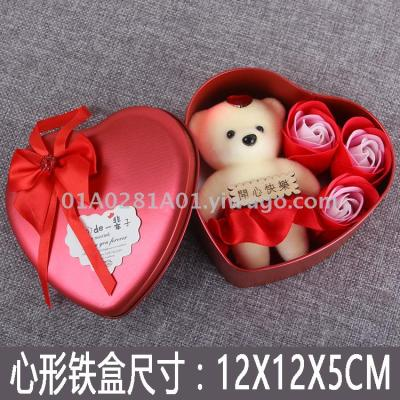 Heart box 3 imitation soap roses plus bear Christmas valentine's day wedding gifts factory wholesale foreign trade
