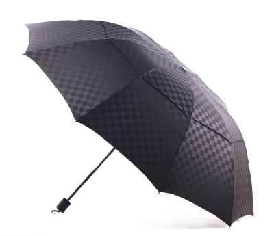 "Foreign trade double embossed hand open since the opening of the umbrella increased men's business 27 ""10 bone steel umbrella"