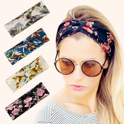 Europe and the United States hot sales Rose knot head with hair Headband Wholesale Cross Elastic head with headband headband wristband