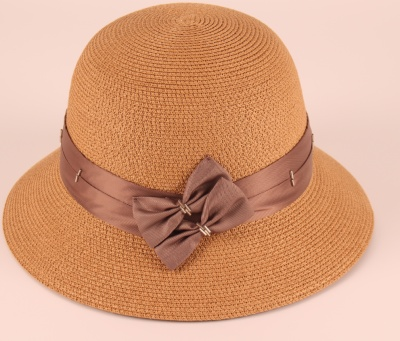 Lady in a straw hat leisure vacation Beach Wind Shading woman