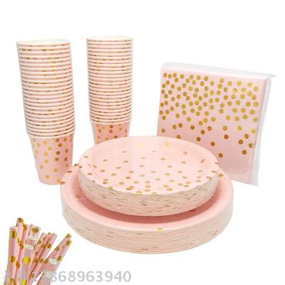 Pink Gold Pot Disposable Tableware Set for Party and Banquet