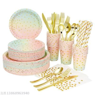 Dazzle Series Stocked Party Banquet Disposable Hotel Paper Tableware Set