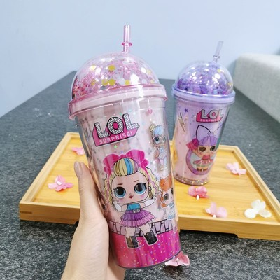 LOLa plastic straw cup with double lid, cold and heat insulation, double water cup with double layer and stock