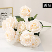 Head duo rose wedding decoration bouquet home furnishing accessories factory price direct simulation rose cross-border flower
