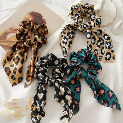 Cross-border new satin large intestine circle cloth circle Europe and the United States spring and summer knot rabbit ears leopard pattern accessories manufacturers