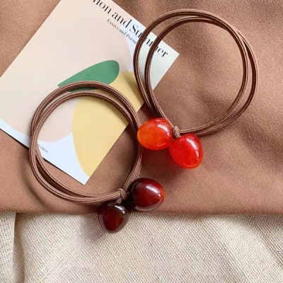 Hot style cherry hair ring web celebrity rubber band new hair accessories headdress manufacturers direct sales first hand supply 2020 Hot sale