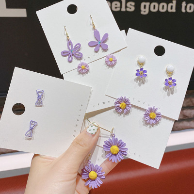 New type earring ear nail earring purple Bowknot flower fashion make no use of temperament shell silver needle allergy wholesale