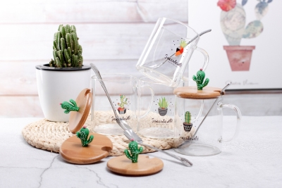 Cactus with Silicone High Borosilicate Glasses Internet Celebrity Live Streaming Hot Gift Cup Teacup Water Cup Cup with Cover