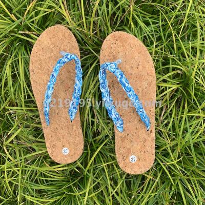European and American popular ladies beach wood printed pattern with woven LACES, flip-flops,  EVA soles