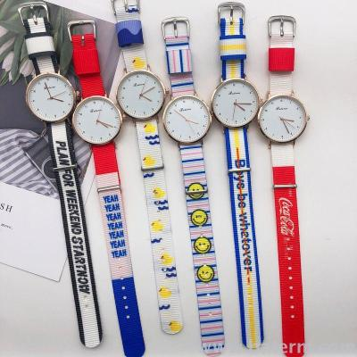 Instagram Wind Korean version of the fashionable canvas Watchband students watch the original fashion trend personalized brand for men and women