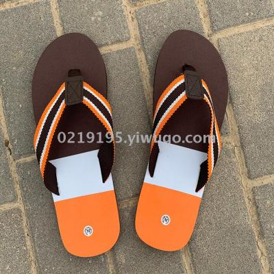 Popular in Europe and the United States for men to print color stripe beach flip-flops rubber shoelace EVA sole