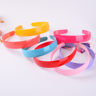 Best-selling Korean version of 25mm wide color plastic headband lovely candy ribbon tooth hair band manufacturers direct wholesale