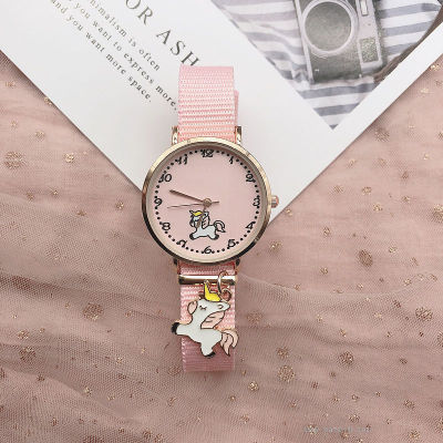 Instagram wind pink girl cute pendant canvas watch strap watch Unicorn Flamingo student Watch pendant watch