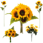 Spot Supply Simulation Taiyanghua Sunflower Bunch Big Taiyanghua Wedding Home Decoration Floor Sunflower
