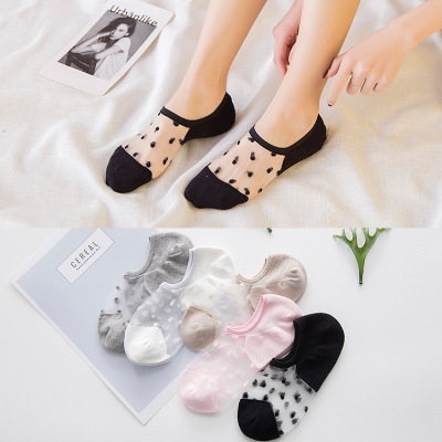 Summer Socks-Piece Transparent Lace Women's Socks Cotton Cool Low Cut Invisible Boat Socks Color-Changing Socks Factory Wholesale