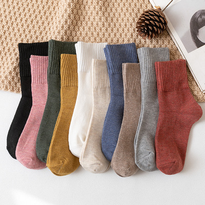 Autumn and Winter Socks Japanese Pure Color Women's Mid-Calf Length Sock High Screw Type Cotton Socks Women's Products in Stock Free Shipping Factory Wholesale Women's Socks
