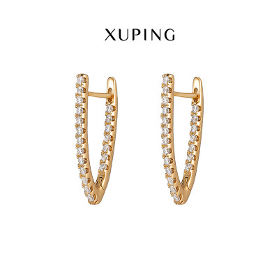 Xuping Jewelry New Hot Sale in Europe and America V-Shaped Earrings Zircon Earrings in Stock Wholesale Earrings Ae053103