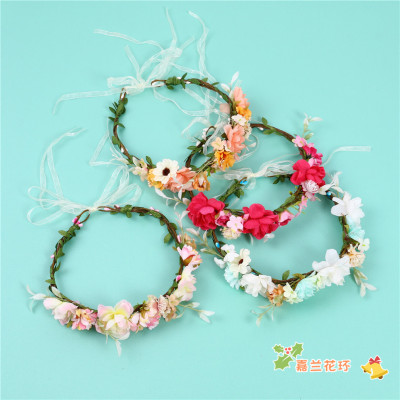 Mori Girl Artificial Flower Garland Rattan Bridal Flower Headdress Headdress Flower Headband Photo Hair Accessories