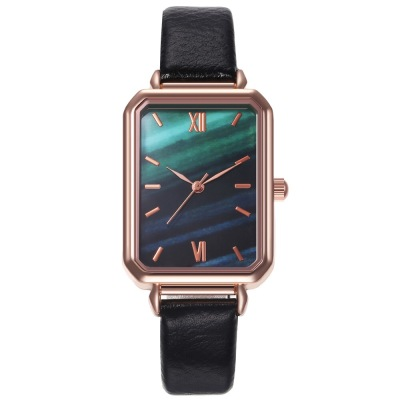 Niche Ins Style Simple Artistic Beautiful Square Small Green Watch Harajuku Style Trendy Unique Student Watch Women's Watch