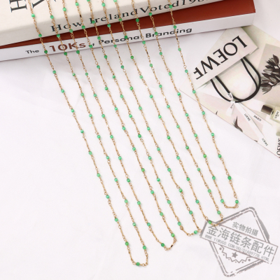 Factory Direct Green Zircon Metal Decoration Handmade DIY Jewelry Accessories Fashion Women's Necklace Bracelet String