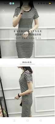 2021 Summer Mid-Length Korean Style Striped All-Matching round Neck Slim Bottoming Short Sleeve Loose Black Slimming Dress