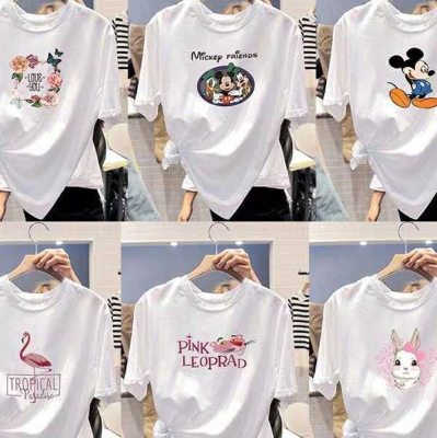 2021 Summer Large Size Loose Short-Sleeved T-shirt Female New round Neck Women's Top Trend Korean Style T-shirt Stall Wholesale