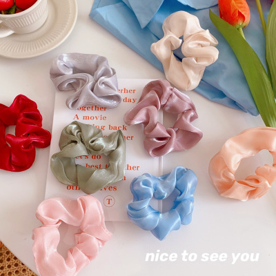 Textured Glossy Hair Rope Simple Hair Ring Sweet All-Matching Large Intestine Ring Girl's Fabric Hair Rope Japanese and Korean All-Matching Hair Accessories