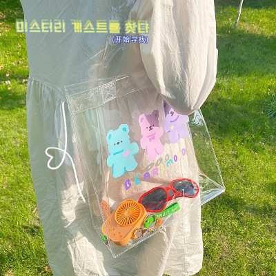 Korean Style Ins Style Cartoon Bear PVC Satchel Summer Cute Transparent Jelly Pack Student Cosmetics Storage Bag