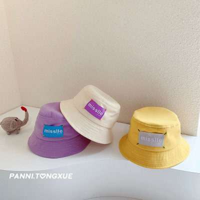 1-2 Children's Hat Summer Korean Style Baby Fisherman Hat Baby Patch Candy Color Bucket Hat Boys Fashion Brand Girls