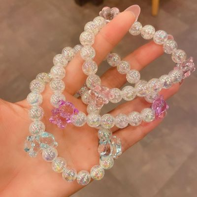 Can Be Used as a Bracelet Hair Rope ~ Cute Bear Crystal Beads Hair Ring Ins Girl's Heart Hair Accessories Japanese and Korean Hair Rope Fashion