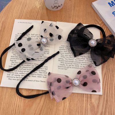 2021 Korean New Bun Organza Polka Dot Bow Hair Band Internet Celebrity Lazy Braided Hair Modeling Artifact