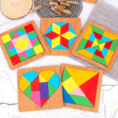 Direct Selling New Children Education Wooden Graphic Cognitive Jigsaw Puzzle Early Education Splicing Blocks Stall Toys